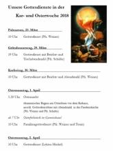 Gottesdienste in der Karwoche und an Ostern 2018